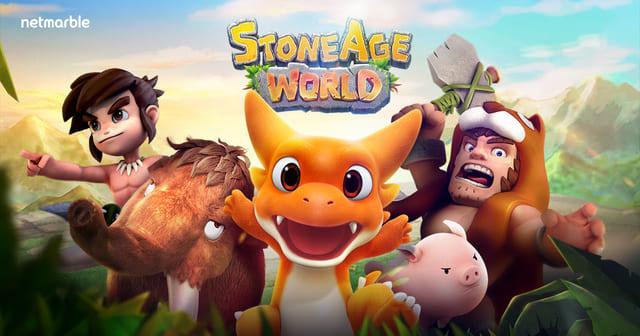 『ストーンエイジ ワールド』石と縄を持って運命のペットを捕獲!恐竜ペットと一緒に楽しむ石器時代ライフ